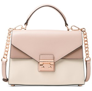 MICHAEL Michael Kors Sloan Medium Pink/Cream/Fawn Smooth Leather Satchel in Soft Pink/Cream/Fawn