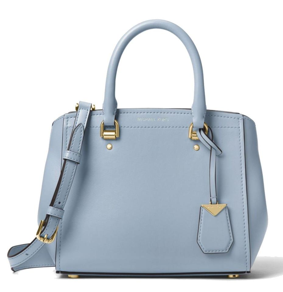 5a3299731c78 MICHAEL Michael Kors Benning Medium Pale Blue Leather Satchel - Tradesy