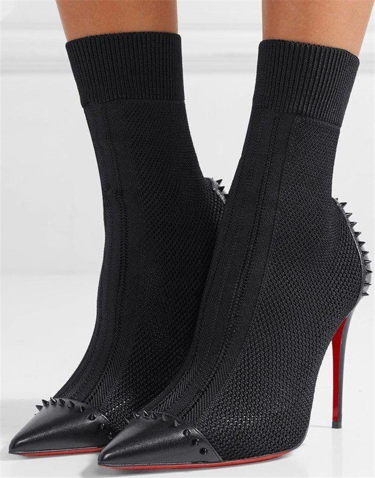 703b33298a7 Christian Louboutin Black Dovi Dova 100 Maille Knit Sock Spiked Studded  Heels Boots/Booties Size EU 35 (Approx. US 5) Regular (M, B) 21% off retail