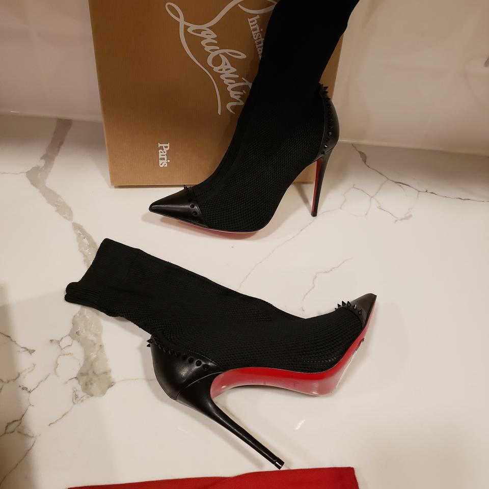 new styles 3ae70 6e1e1 Christian Louboutin Black Dovi Dova 100 Maille Knit Sock Spiked Studded  Heels Boots/Booties Size EU 35 (Approx. US 5) Regular (M, B) 25% off retail