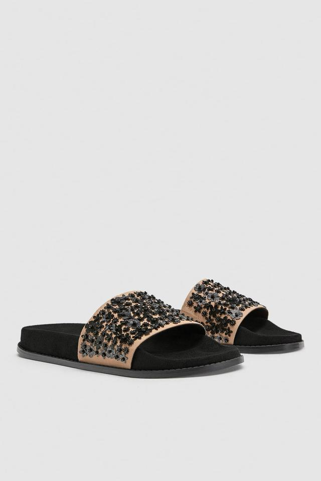 dcac8a78777265 Zara Nude Black Beaded Platform Slides Flip Flips Sandals Size US 9 ...