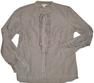 Charter Club Striped Ruffle Front Cotton Long Sleeve Blouse Button Down Shirt Multi-Color