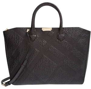 Burberry Check Leather Carryall Tote in Black