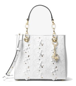 c69eb87549d2 MICHAEL Michael Kors Cynthia Small Floral Embroidered Optic White Leather  Satchel