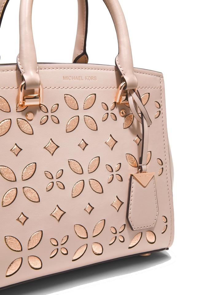 ee1d5146b7c4 MICHAEL Michael Kors Benning Medium Perforated Leather Shoulder Smooth Leather  Satchel in Soft Pink Image 4. 12345