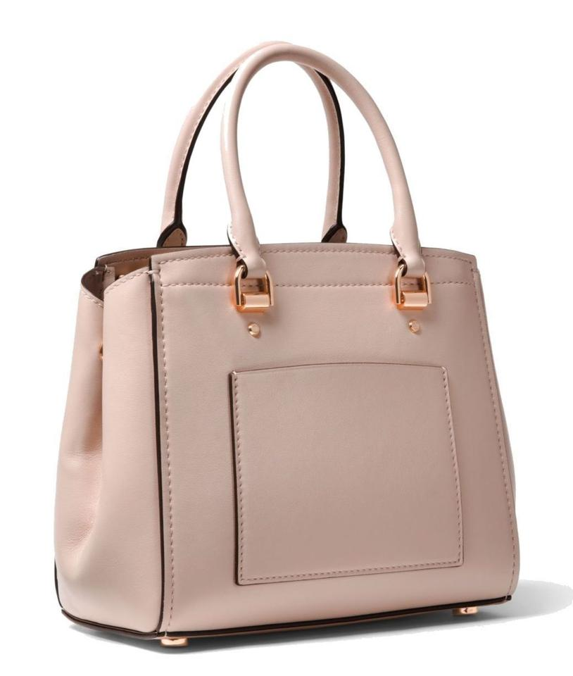 a03cf40f3b9e MICHAEL Michael Kors Benning Medium Perforated Leather Shoulder Smooth  Leather Satchel in Soft Pink Image 4. 12345