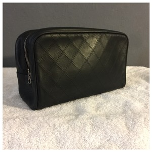 Chanel Authentic CHANEL Cosmos Line Quilted CC Cosmetic Pouch Black Leather Bag