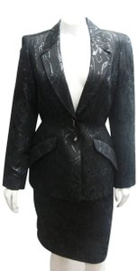 Thierry Mugler Thierry Mugler Vintage Black Set Skirt Jacket Power Suit 38 6 Metallic