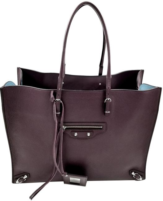 Item - Papier A4 Zip Around Rouge Pourpre Leather Tote
