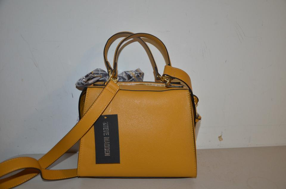 check out e6fcc 09734 Steve Madden Breese Satchel Scarf Mustard Yellow Faux Leather Cross Body Bag