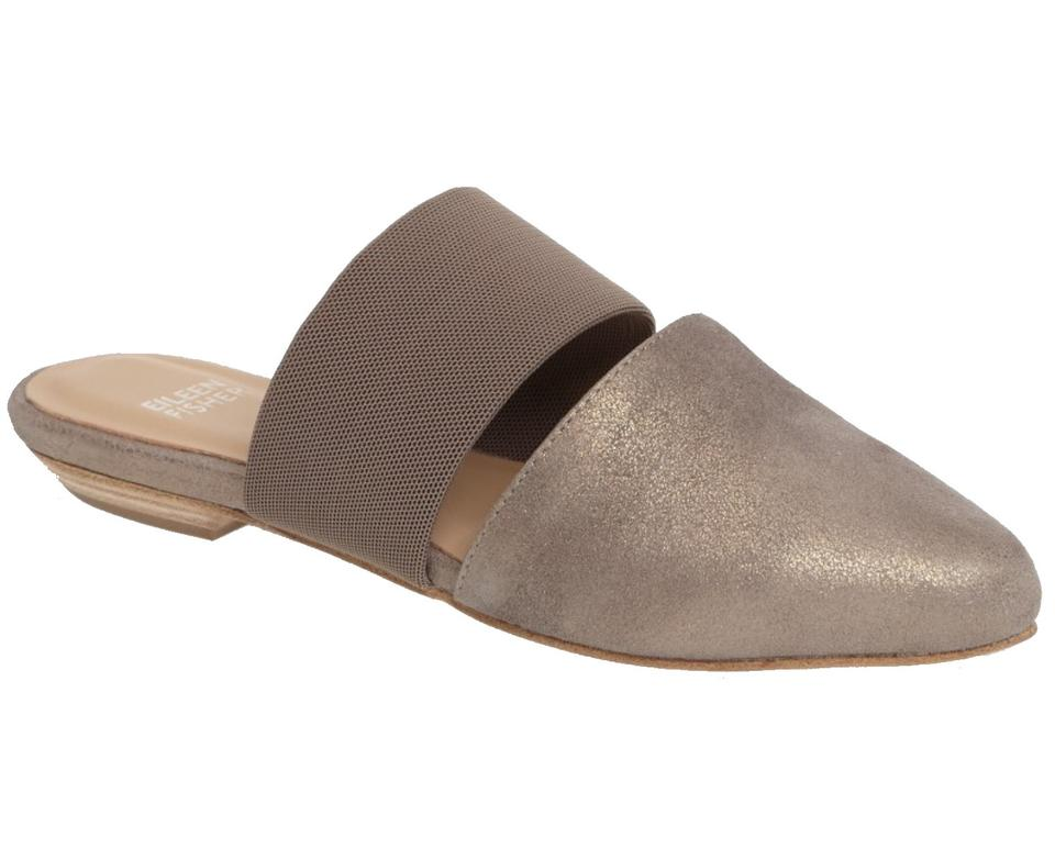 b6b38b6560ae93 Eileen Fisher Shiimers Pointy Toe Mule Low Heel Super Comfy Classic Mule  Silver Sandals ...