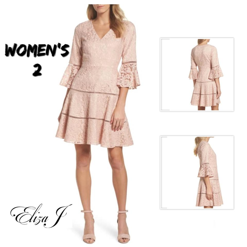 1d69f975d26 Eliza J Blush Bell Sleeve Lace Mid-length Short Casual Dress Size 2 ...