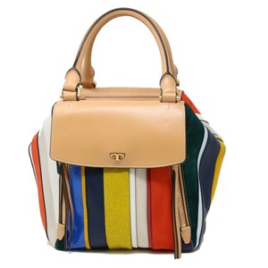Tory Burch Vacation Summer Colors Monogram Flats Crescent Moon Satchel in Camel Trim and Multicolor