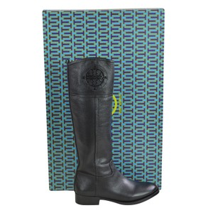 Tory Burch Tall Tumbled Leather 5 Black Boots
