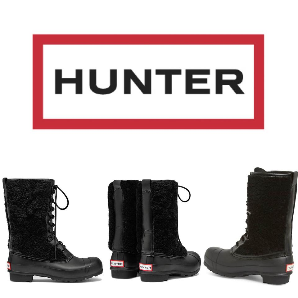 d6fcc26b636 Hunter Black Genuine Shearling Waterproof Lace Up Boots Booties Size ...