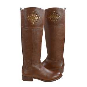 Tory Burch Tumbled Leather Brown Tall 5 Almond Boots