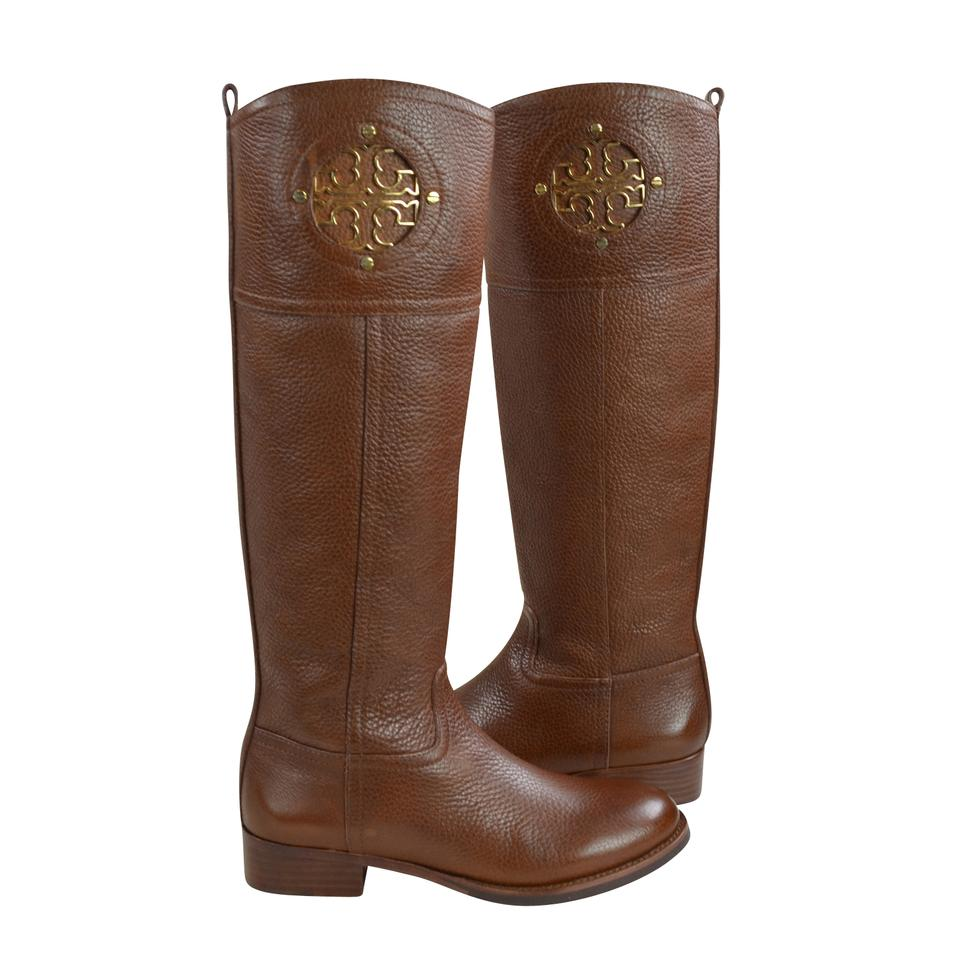 646243ff1575 Tory Burch Almond Kiernan 35mm Tumble Leather Riding Boots Booties ...