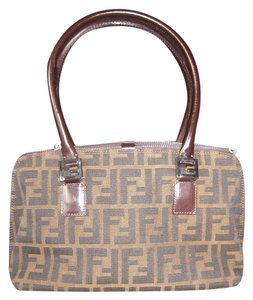Fendi Logo Canvas Silver Hardware Jacquard Satchel in Brown