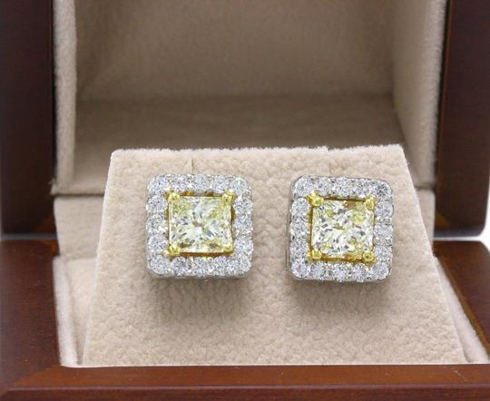 55631e4bfd79d Light Yellow Princess Halo 3.96 Tcw 18k White Gold Earrings 56% off retail
