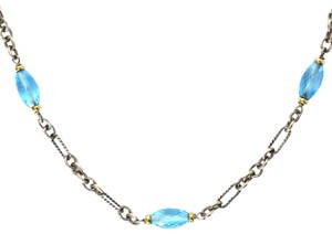 David Yurman Chain Link Necklace W/ 18K & Faceted Stones