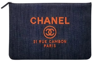 Chanel Deauville O Case Denim Pouch Blue / Orange Clutch