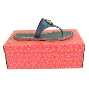 Tory Burch Thong Tumbled Leather Slip On 6 Tory Navy Sandals