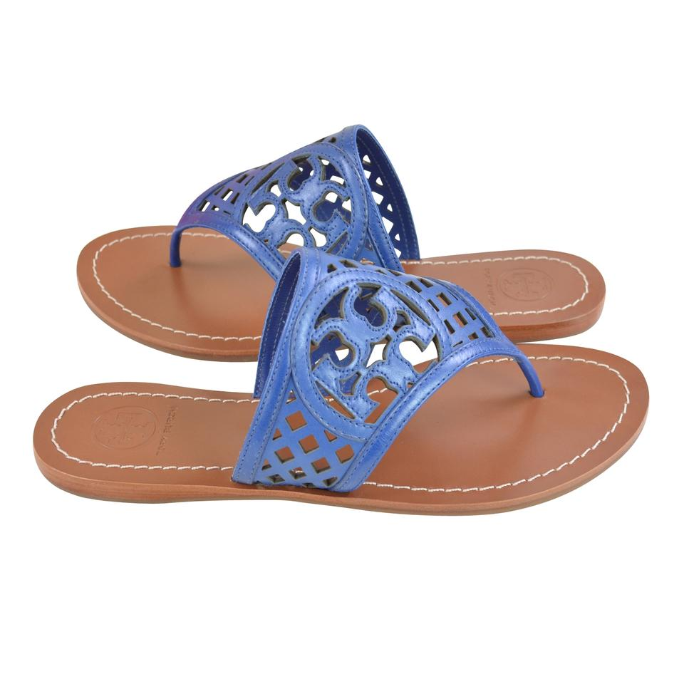 4ada892a3c0364 Tory Burch Thong Navy Perforated Slip On Leather Greek Blue Sandals Image  5. 123456