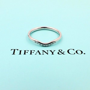 Tiffany & Co. F Elsa Peretti Curved Diamond Ring Platinum Size 8.25 Women's Wedding Band