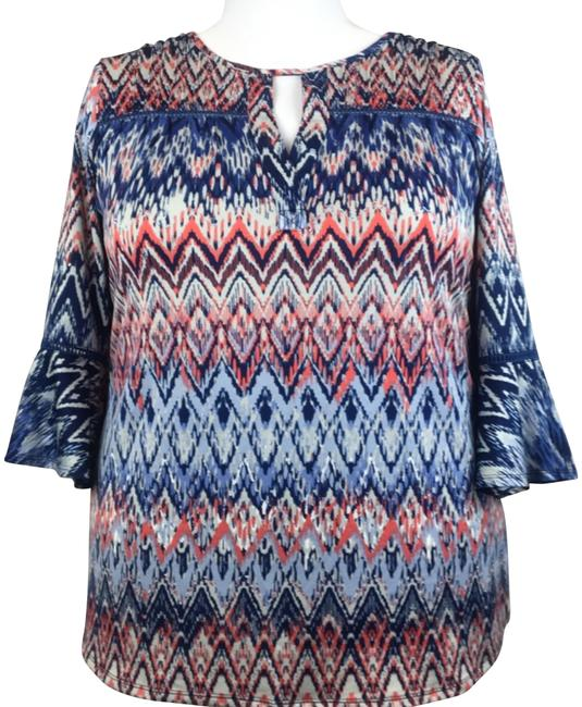 Item - Multi-color Bell Sleeve Peasant Blouse Size 20 (Plus 1x)