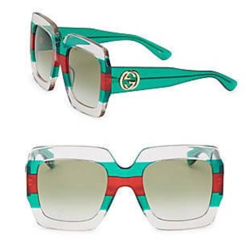 f9fb38fd4be Gucci Green Clear White Red Oversized Square Frame Gg0178s 001 ...