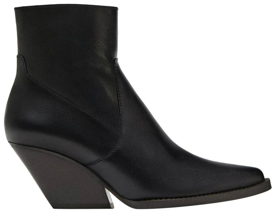 Zara Black Black Zara Cowboy Leather Ankle Boots/Booties 54be2f
