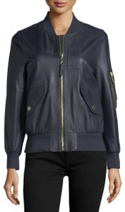 Burberry Bomber Leather Navy Jacket