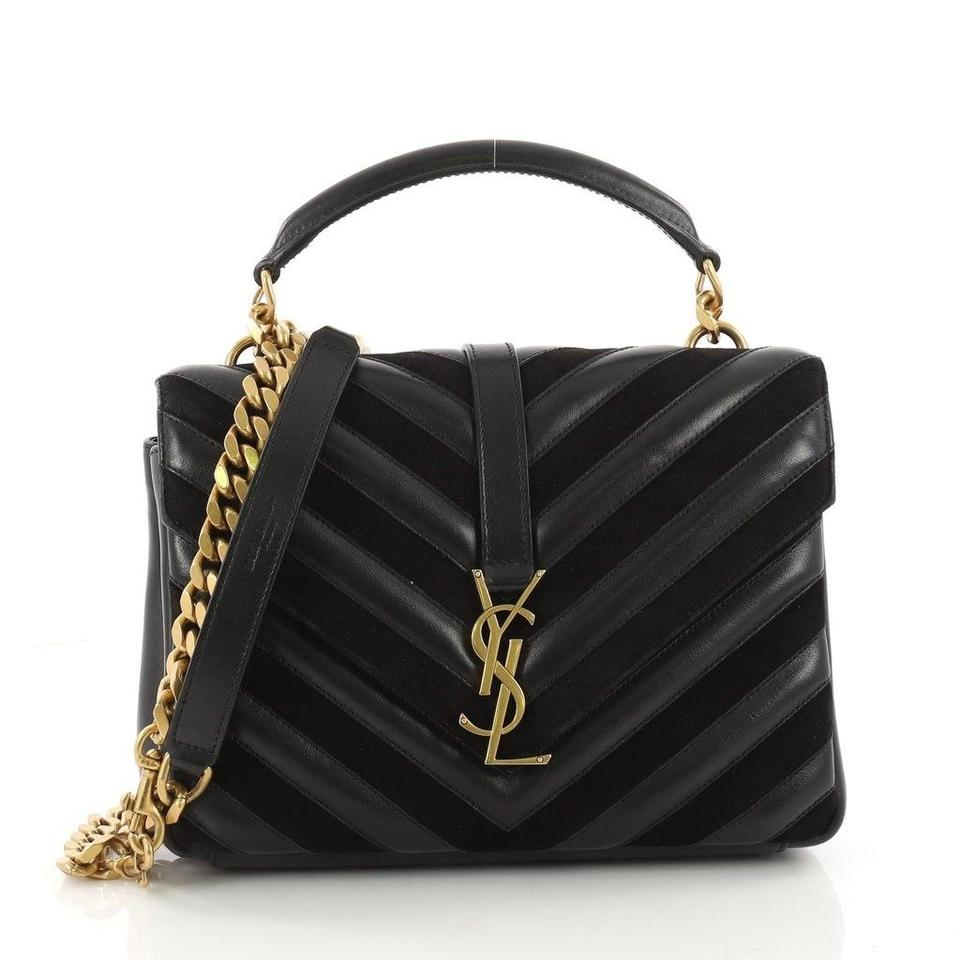 7afdc7729527 Saint Laurent Monogram Collège Suede and Medium Black Leather Shoulder Bag