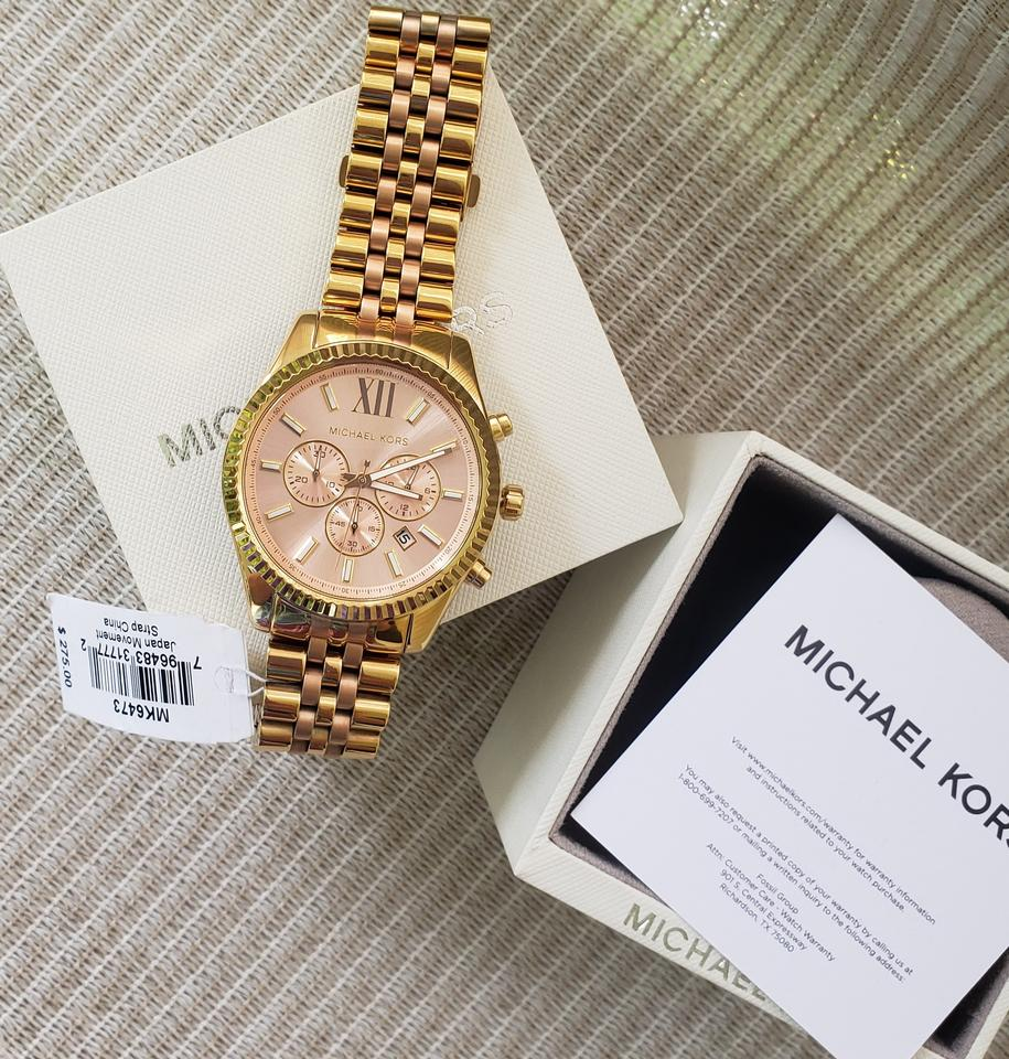 Michael Kors Rose And Gold Tone Ladies Chronograph Watch Tradesy