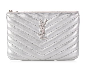 Saint Laurent Ys.p0807.09 Metallic Hardware Quilted Reduced Price Silver Clutch