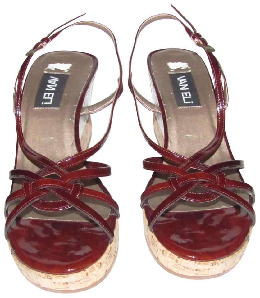 Vaneli Burgundy Patent Leather Strappy Wedge Sling Back Heels With