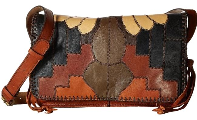Item - Tivoli Flap Zigzag Stitch Patchwork Brown/Multi Leather Cross Body Bag