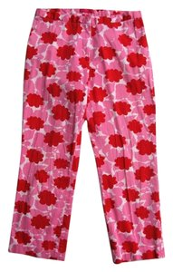 Helen Wang Capri/Cropped Pants Pink with Red