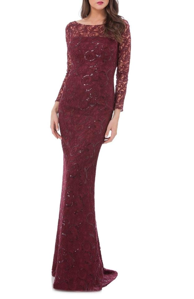 Carmen Marc Valvo Ruby Infusion Sequin Lace Mermaid Gown Long Formal ...