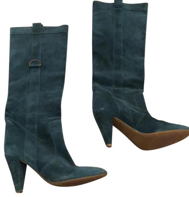 Item - Turquoise Suede Knee High Retro Look In Great Condition Boots/Booties Size US 11 Regular (M, B)