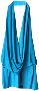 analili Cowl Neck Open Back turquoise Halter Top