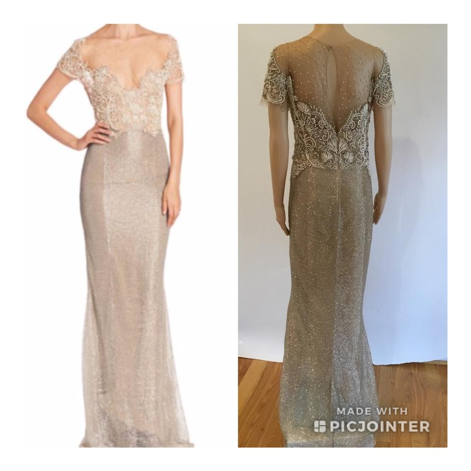 f094eed2 Marchesa Nude Pearl Embellished Sheer Top Gown Long Formal Dress ...