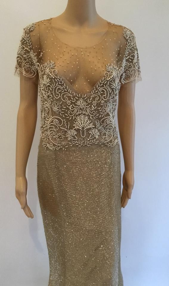 4b82a1ab3c8 Marchesa Nude Pearl Embellished Sheer Top Gown Long Formal Dress ...