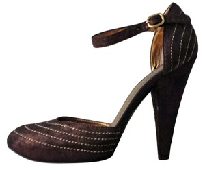 Casadei Suede Boho Size 6.5 Brown and Gold Pumps
