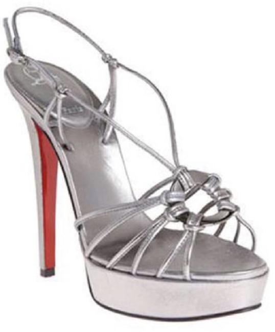 Item - Silver Discolilou Platform Pump High Heel Lady Fashion Sling Strappy Italy Sandals Size EU 39.5 (Approx. US 9.5) Regular (M, B)