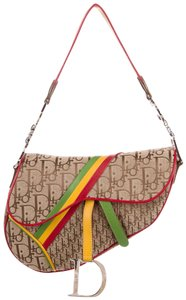 Dior Christian Saddle Rasta Rare Limited Edition Satchel in Khaki and Multi