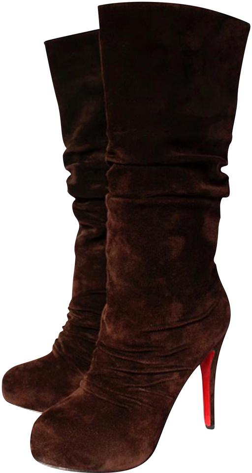 a7aaf82b7e7 Christian Louboutin Chocolate Brown Pilos Suede Leather Slouch Boots ...
