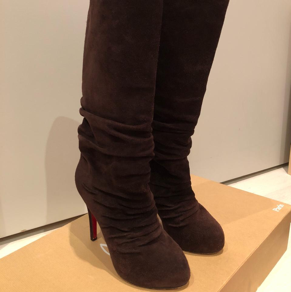 fe152bfee737 Christian Louboutin Chocolate Brown Pilos Suede Leather Slouch Boots ...