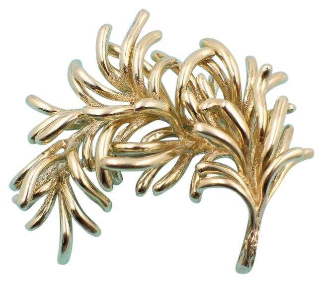 Item - Yellow Gold Vintage Leaf Pin Brooch