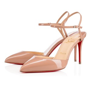 Christian Louboutin Pigalle Stiletto Ankle Strap Patent Rivierina nude Pumps
